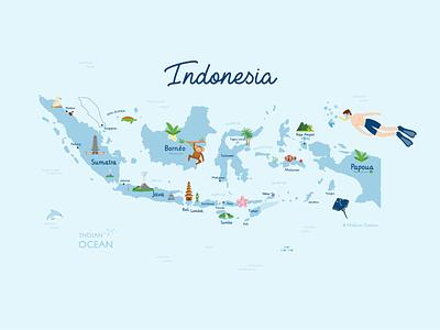 Indonesia Map ♥ traveling map typography icon bali indonesia design vector branding ui illustration