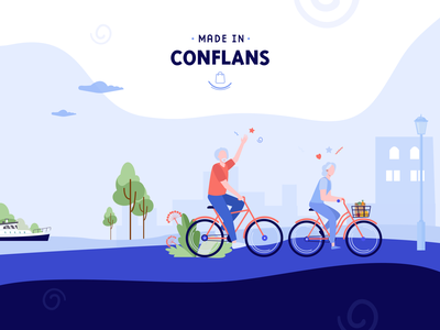 Made in Conflans flat minimal logo ux vector web illustration ui branding design