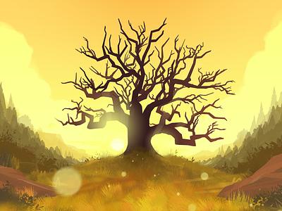 Big Tree woods firewatch yellow nature sun outdoors tree design graphic design illustration