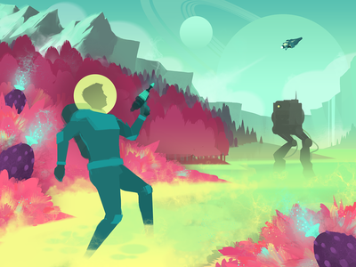 Forbidden Planet alien spaceship spaceman art exploration colorful sci-fi space graphic design illustration