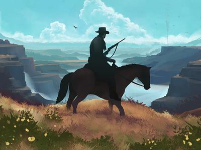Bounty Hunt horse canyon landscape western cowboy outdoors art illustration design graphic design