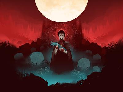 Old Blood moon red blood doll graveyard bloodborne dark design illustration graphic design