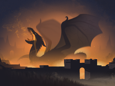 Castle Nest heat flames wings dark orange fire castle dragon art illustration graphic design