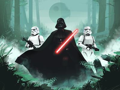 Dark Lord art dark death star stormtrooper lightsaber forest star wars darth vader design illustration graphic design