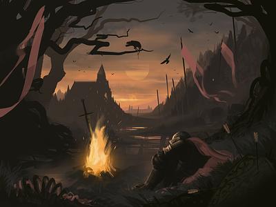 Going Hollow artwork swords crow bonfire fire knight dark souls dark art design illustration graphic design
