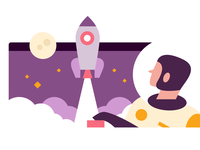 Boost rocket spaceman space vector flat design illustration branding web graphic design