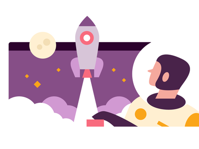 Boost rocket spaceman space vector flat design illustration branding web graphic design