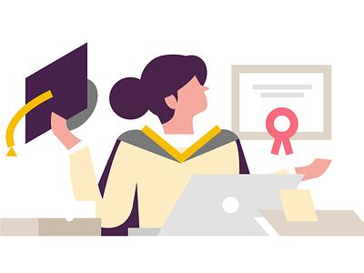 Elearning lessons certificate elearning vector flat design illustration web branding graphic design