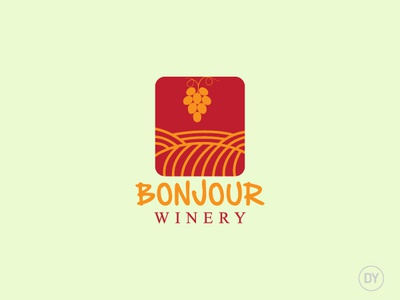 Bonjour Winery logo design wine bar minimal logo logo