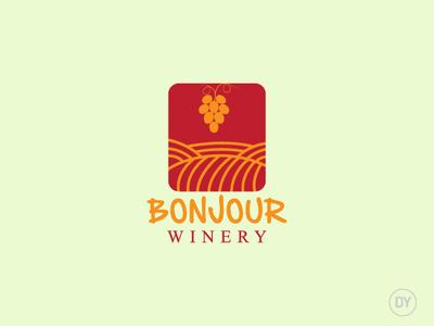 Bonjour Winery logo design wine bar minimal logo logo