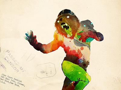 Trophy Pose choppre watercolor trophy pose heisman football sports bear