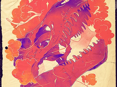 Dawn Of Nature choppre watercolor dinosaur dino trees ancient colorful nature skeleton retro vintage