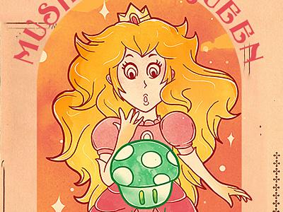 The Mushroom Queen choppre watercolor mario peach mushroom queen gaming