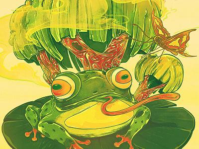 Brighter Days harmony earthday tree butterfly mixedmedia watercolor eco green frog emilekumfa nubreedlab