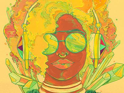 Metro Summertime uzuricloset mixedmedia illustration headphones crytals summer metro emilekumfa watercolor nubreedlab