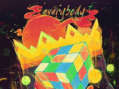 Everybody rubix cube emile kumfa logic stars sun galaxy planets mixedmedia everybody nubreedlab