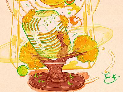 livestream illustration music iphonex planets livestream tree stars sun mic watercolor emilekumfa nubreedlab