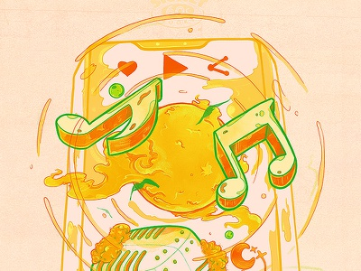 livestream top half watercolor tree sun stars planets nubreedlab music mic livestream iphonex illustration emilekumfa