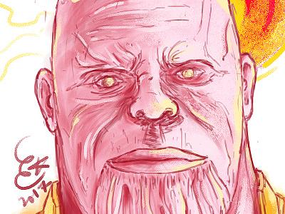 Thanos illustration painting nubreedlab comics portrait infinitywar avengers thanos