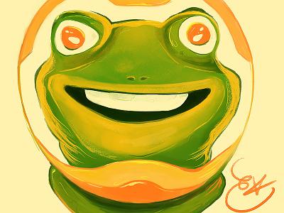Agent 04 portrait smile digitalart art caricature spacesuit green frog nubreedlab