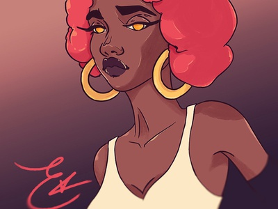 Uh Huh photoshop anime manga character afro sketch beauty woman jewelry melanin illustration digital art illustration portraiture portrait mixedmedia