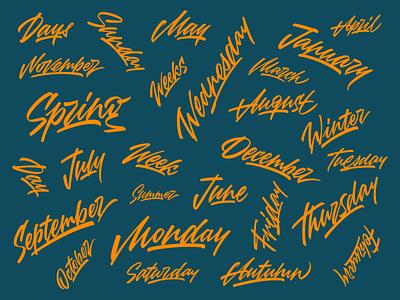 Original brush lettering set. Seasons, months, weeks, days. paper ink day week month season type brush handtype lettering logo