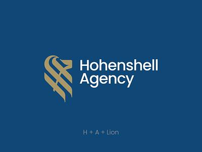 Hohenshell agency logo. identity branding font marks lion logotype logo