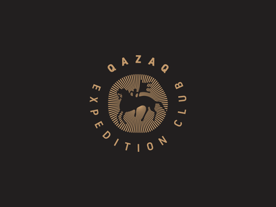 Qazaq expedition club. travel sign qazaq petroglyph mark logotype logo journey hors geography expedition
