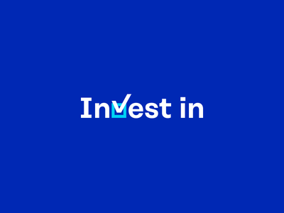 Invest in. chart square check invest symbols sign mark logotype logo