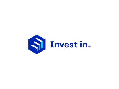 Invest in. chart grow square check invest symbols sign mark logotype logo
