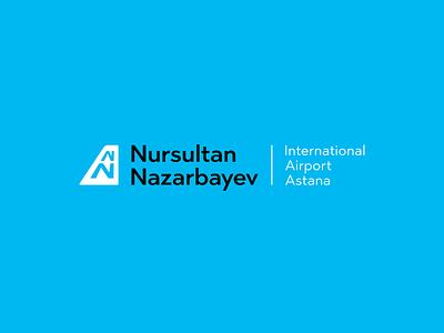 New logo of Astana Airport. airport plane runway tail monogram n symbols sign mark logotype logo