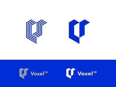 WiP. New logo concept of Voxel 3d Printing. box face line 3d voxel letter v sign mark logotype logo