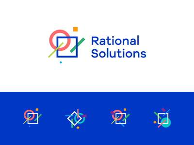 Rational Solutions — consulting service. square dot solution rational line balance circle sign mark logotype logo