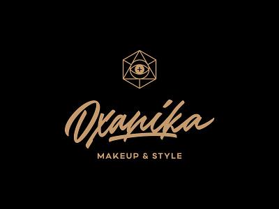 Oxanika — makeup & style. ink calligraphy style brush makeup eye lettering logotype logo