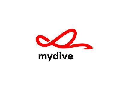 Dive centre in Phuket island — mydive. scat stingray infinity arrows lines scuba diver scuba diving line manta ray manta logo design mark logotype logos logo