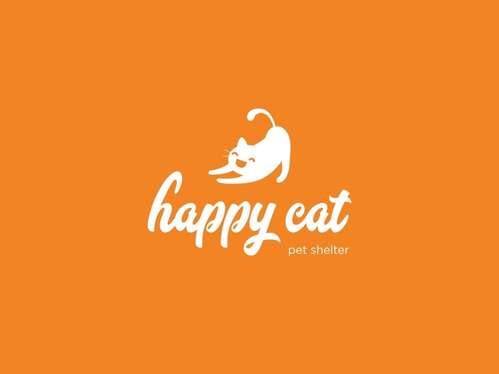 Happy cat monogramm branding graphicninja smile orange chellange flat logofolio logo sweet cat happy buyer