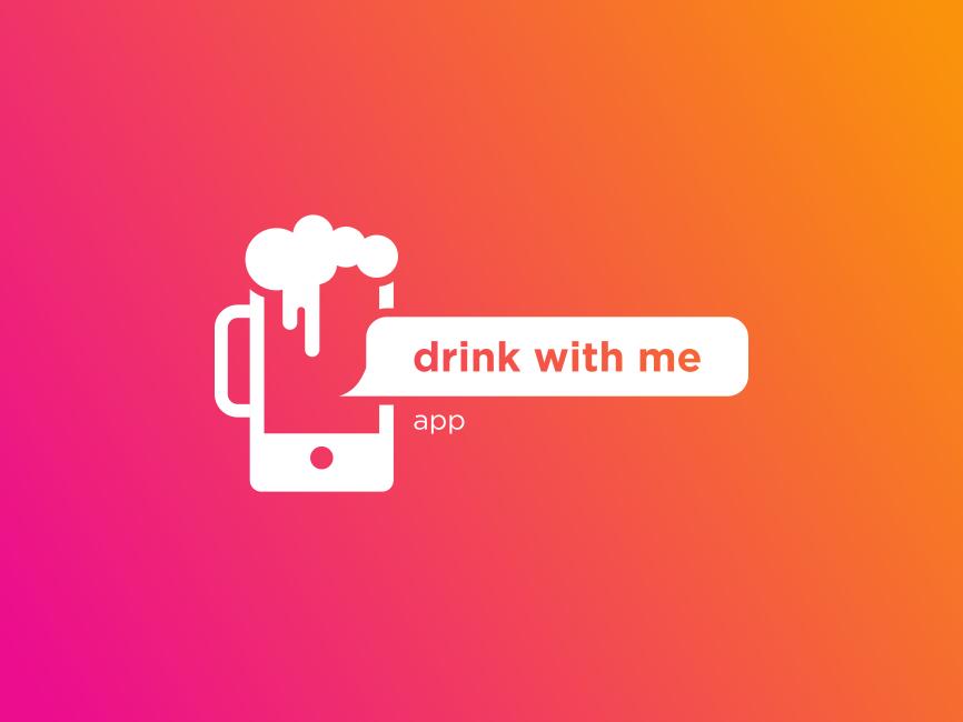 DWM dribbbble joke communication mark flat icon challange logo app alcohol drink