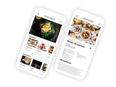 Cravings typogaphy cooking app ios iphonex app ux ui