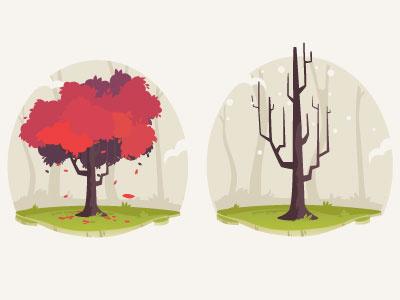 Tree test tree illustration winter fall field seassons