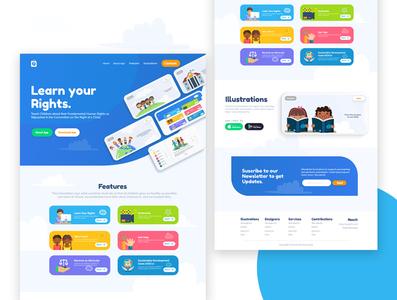 Kiddies App Website Landing Page website design landingpage xd design african kids illustration typography web app ux illustration minimal ui minimalist design