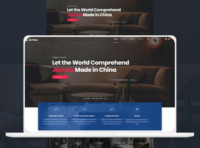 Web Redesign Proposal for Jiu Hua Group ux icon interaction logo design illustration clean ui minimal minimalist design