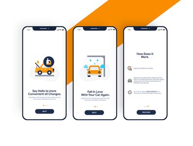 Onboarding Screens for a Mobile App Project carwash ux app illustration ui minimalist design