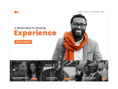 Website for an Online TV Company #landingpage tv app tv minimal web design ux interaction clean ui minimalist design