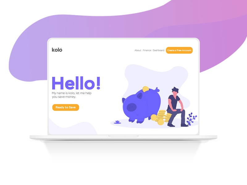 Kolo Landing Page macbook landing page minimalist design youth ui  ux ui minimal banking app clean app