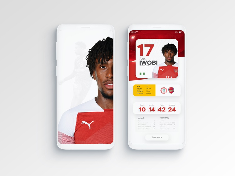 Football App: User Profile Page design web soccer app material design minimal interaction ui minimalist design app