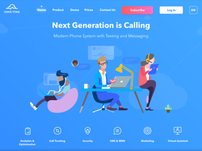 """Landing Page for """"Voice Titan"""" call service"""