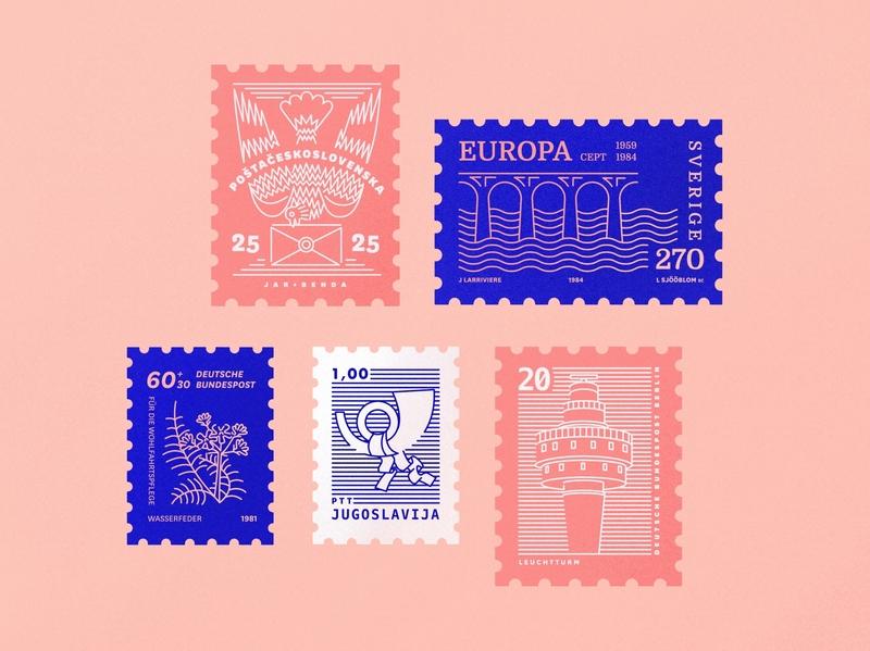 Digital stamp collection flat stamp design stamping typography stamp icon procreateapp design vector procreate illustrator illustration