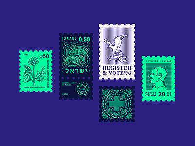 Digital stamp collection pt2 typography postmark stamping stamp design stamp procreateapp design vector illustrator illustration