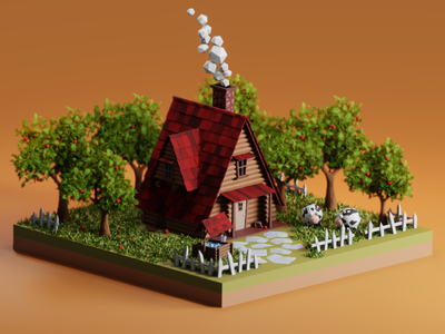 House render isometric house illustraion blender3d blender 3d colors design