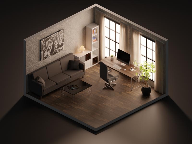 Minimal room minimal isometry illustration room house b3d render blender3d blender 3d colors design